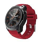 GYJUN Herren Sport Smart Watch IP67 wasserdichte Armbanduhren Remote Music Control Schlaf Monitor Stoppuhr Multifunktionsuhren,Red
