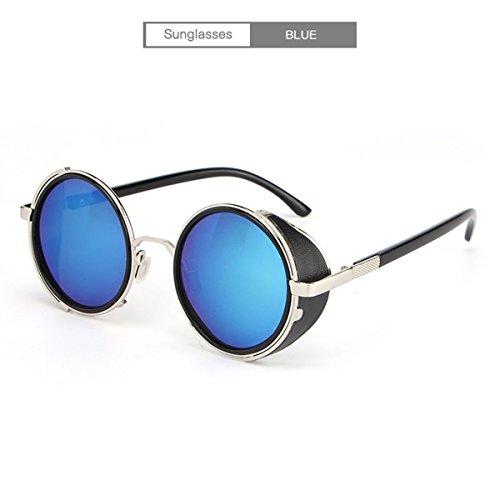 DYEWD Gafas de sol,Gafas de sol hombre y mujer, gafas de sol punk, gafas de sol redondas, gafas de sol de moda, gafas de sol tendencia, gafas de sol UV, gafas de sol de exterior, lentes de color azul plateado