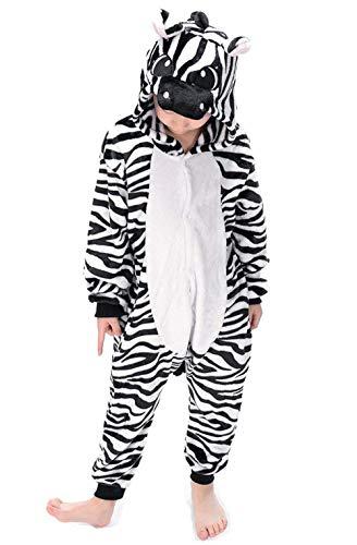 psuit Onesie Mädchen Junge Kinder Tier Karton Halloween Kostüm Sleepsuit Overall Unisex Schlafanzug Winter, Zebra ()