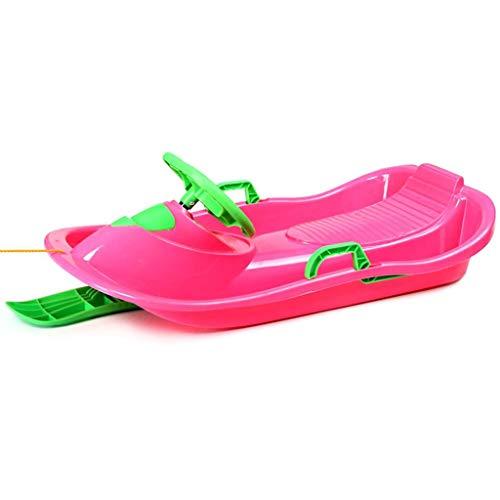 Rodel Schlitten Ski Motorschlitten Schlitten im Freien Garten Anhänger Einplatinen Rasenski Kinder mit Lenkrad (Color : Pink, Size : 102 * 48 * 19cm)