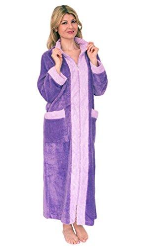 Bath & Robes Damen-Bademantel, klassisch, Chenille, Durchgehender Reißverschluss - Violett - Medium -