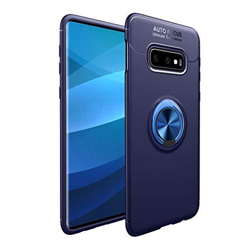 Für Samsung Galaxy S10E 5,8 Zoll Hülle, MuSheng Fingerring Halter Ständer Fall Cover Stoßfest Stoßfänger Schutzhülle Handyhülle Case Anti-Kratzer Anti-Dropping für Samsung Galaxy S10E (Blau) 5.8