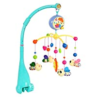 Baby Musical Cot Mobile with Four Portable Little Bee Mobile One Small Sun Adjustable Volume Music Player Fixed Bracket Colorful Electric Rotating Music Toy for Newborn Infant Toddler