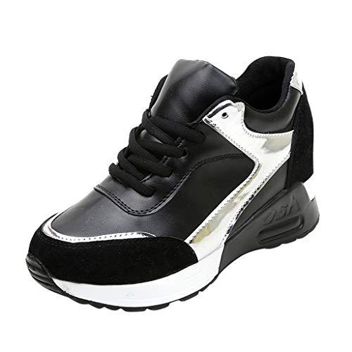 Damen Sneaker Mädchen Mode Laufschuhe Freizeit Leder Freizeitschuhe Sportschuhe mit Reißverschluss... (EU:35, Silber)