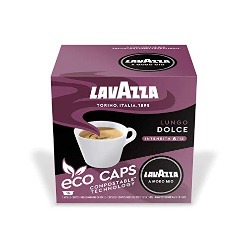 Lavazza 16 A Modo Mio Eco Caps Kapseln, kompostierbar, Kaffee Lungo Dolce, 1 x 16er Pack (128 g)