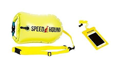 Speed Hound Swim Bouée–Ouvrez l'eau de bain Bouée Gilet de sauvetage flottant avec sac étanche et coque de téléphone portable étanche pour Nageurs, Triathlètes, et professionnels. Flotte pour plus sûre Swims, Highlighter Yellow