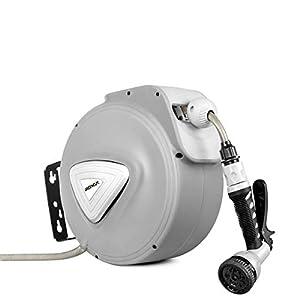 GREENCUT MNG200 – Manguera de agua de 20m con enrollador automatico, soporte de pared y presion de trabajo 8bars