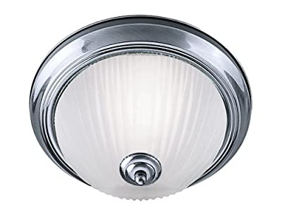 Bathroom Flush Ceiling Light Satin Silver with Opaque Ribbed Glass, 4042