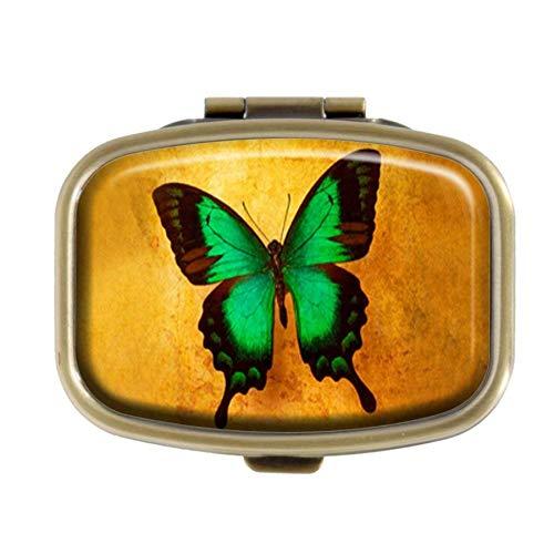 Qcc Boîte à pilules décorative rectangulaire en Bronze Motif Papillon Vert