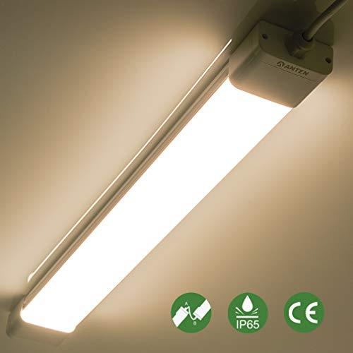 Anten 18W LED Feuchtraumleuchte 60cm für Keller, Garage, Innen- und Außenbeleuchtung, IP65 Wasserfest Kellerleuchte, Feuchtraumlampe in (Kaltweiß 6000K / Neutralweiß 4000K)