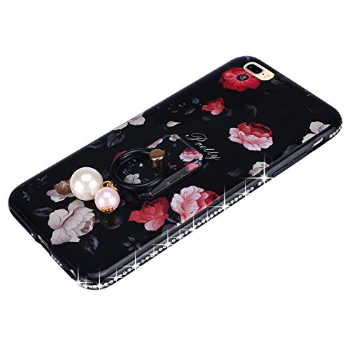 Cover per iPhone 8 Plus/ iPhone 7 Plus, Custodia per iPhone 8 Plus,Bonice Diamante Bling Glitter Lusso Cristallo Strass Morbida Rubber Full body Shock-Absorption Bumper e Anti-Scratch Case Cover Per i Pearl-Cover-01