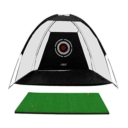 Schlagnetze Golfübungsnetz, tragbares Golfnetz, das treibendes Netz des Innenpraxisnetzspieltrainer-Berufsgolfs mit Matte treibt (Color : Black, Size : 300 * 200cm/118.1 * 78.7inch)