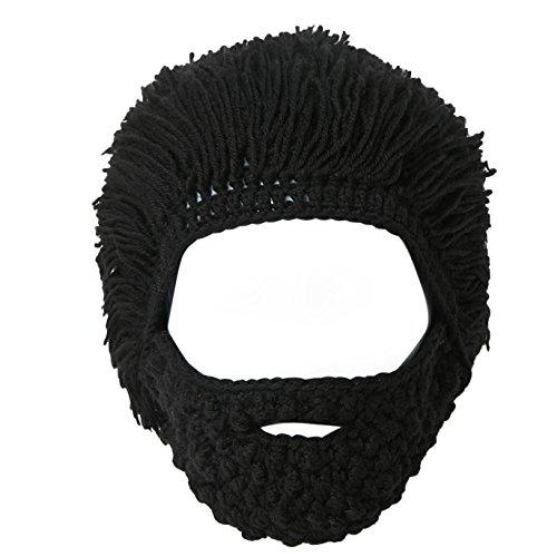Lantra Besa Damen Herren Perücke Bart Mütze Lustige Strickmütze mit Haare für Skilaufen Karneval Halloween Cosplay Party CC0006 - ()
