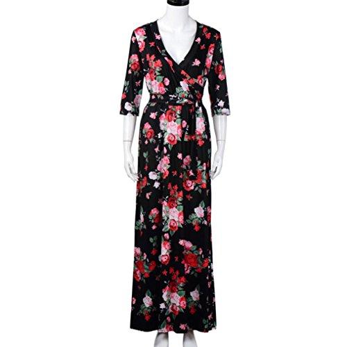 Femmes Robe,Tonwalk V Neck Soirée Plage Floral Manche longue Robe Noir