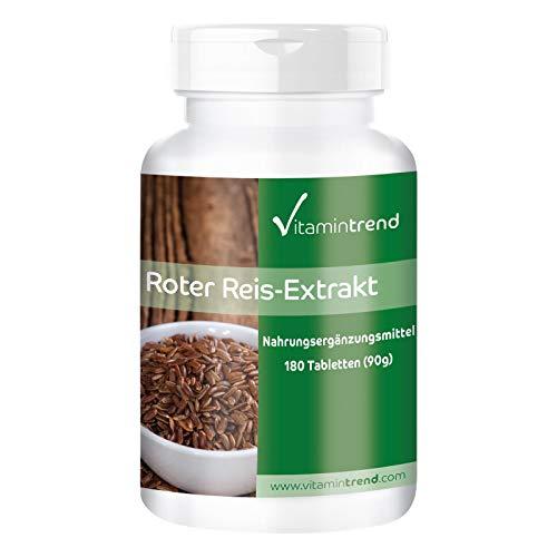 Levadura de arroz rojo - Bote para 6 MESES - 4-5 mg de monacolina K - 180 comprimidos - Ayuda a conseguir niveles normales de colesterol