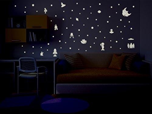 Bilderdepot24 Vinilos decorativos película luminosa de Ovnis y extraterrestres - fluorescente e luminoso
