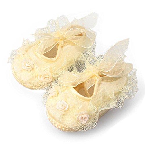 Bonjouree Chaussures Souples Bébé Fille Antidérapant De Dentelle et Riband Jaune