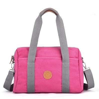 Eshow Borsa da donna di tela a tracolla da viaggio e per uso quotidiano rosa