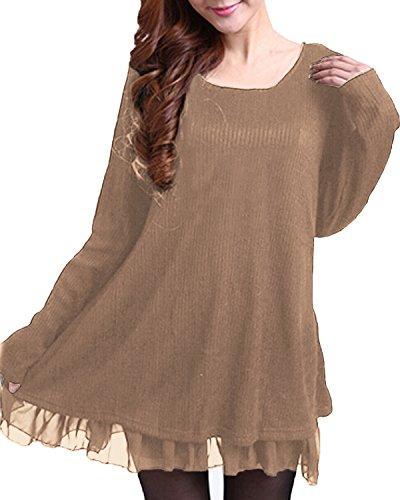 Zanzea Tunique Femme Longue Grande Taille Robe Tunique Femme Hiver Pull Tunique Femme Robe Pull Femme Chic sous Pull Femme