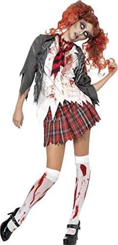 Smiffys Damen Zombie-Schulmädchen Kostüm, Jacke mit angesetztem Hemd, Schlips und Rock, Größe: M, 32929