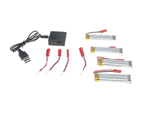 Efaso 5-fach USB-Ladebox + 4 x Power-Akku (3,7 V, 600 mAh) – Passend für UDI U818, U818A und L6039 (Lipo-akku-ladestation)