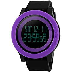 TTLIFE unisex watch mens waistwatchs Fashion Big Dial Sports Watches Silicone Watch Band Waterproof LED Digital Watch(purple&black)
