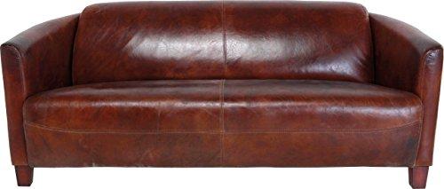 Kare Sofa Cigar Lounge, moderne Ledercouch aus Top Grain Rindsleder, bequemes 2Sitzer/3Sitzer Ledersofa, cognacfarben (H/B/T) 70x176x83cm