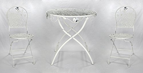 Decoline Metall Gartenmöbel weiß/Creme Set - Tisch und 2 Stühle Bistro Creme