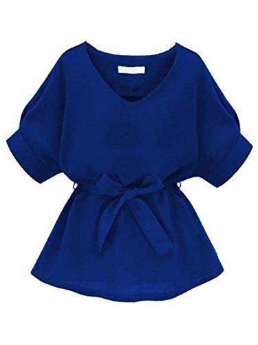 ROMWE Damen Kurzarm Bluse mit Schleife am Taille Blau L