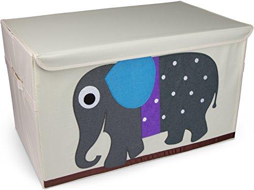Grinscard Spielzeugkiste XXL Elefant Design - ca. 61 x 36 x 36 cm - Spielkiste mit Deckel zur Spielzeug Aufbewahrung