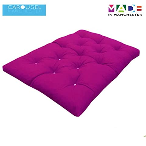 Triple   3 Seater   Memory Foam Futon Mattress   Roll Out Bed   Guest Bed   Fuchsia   190cm x 140cm   UK Manufactured   9 Colours Available   3 Sizes Available