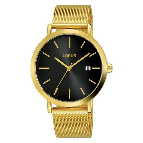 Lorus Mens RH942JX9 Gold Plated Mesh Bracelet Wristwatch