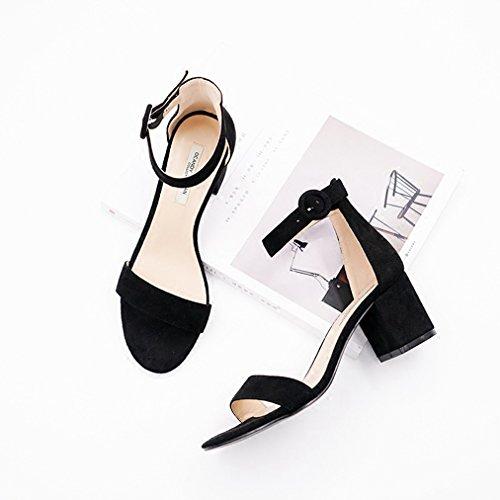Damen Sandalen Blockabsatz Nubukleder Peep-Toe Knöchelriemchen Elegant Rutschhemmend Strapazierfähig Süß Freizeit Büro Topaktuell Schuhe Schwarz