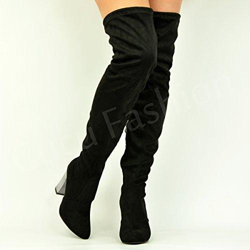 NEW Femme sur le genou Bottes métallique haute Bloc Chaussures Talon Taille 3–8 Noir