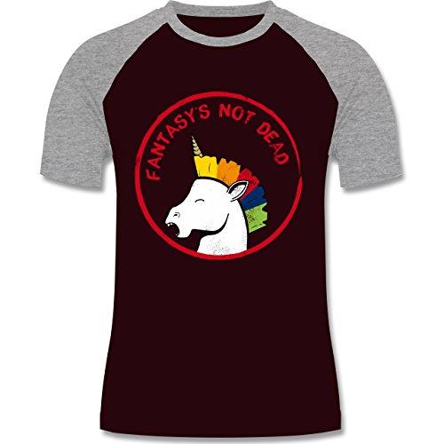 Comic Shirts - Fantasy's not dead Punk Einhorn - zweifarbiges Baseballshirt für Männer Burgundrot/Grau meliert