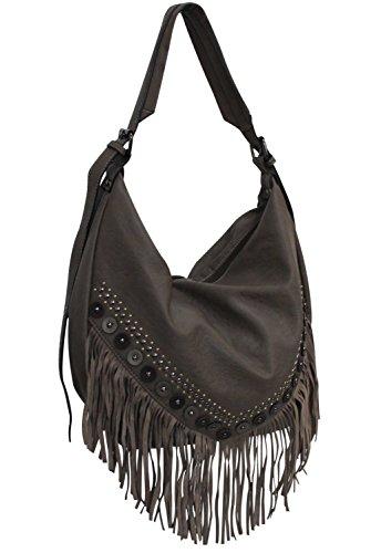 Mandoline (Farbauswahl) Damen Handtasche PU-Leder Beuteltasche Tasche Taupe
