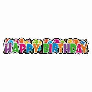 """Unique Party- Cartel de globos para cumpleaños""""Happy Birthday"""", Multicolor, 140 cm (90012)"""