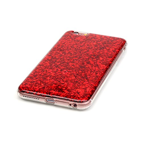 iPhone 6 / iPhone 6s 4.7 inch Hülle, Ultra Slim Sparkles Bling Glitzer Weicher TPU Bumper Cover Stoßfest Hybrid Schutzhülle Handytasche Back Cover Protector Shell für iPhone 6 / iPhone 6s 4.7 inch (Ro Rot