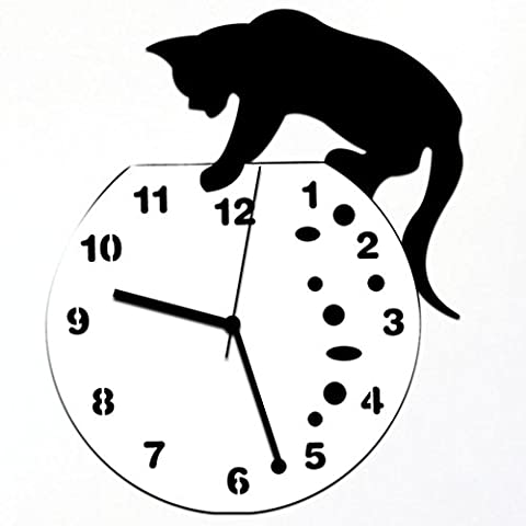 Beauté Top Acrylique classique Mignon Méchant chat Horloge murale Horloge design moderne Home Decor Wall Sticker Montre (C)