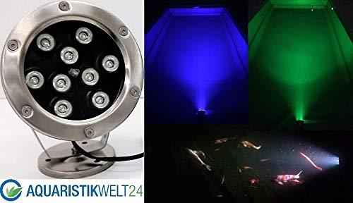 Aquaristikwelt24 9W LED RGB 12V Teich Pool Unterwasser u.Garten Beleuchtung Lampe aus Edelstahl