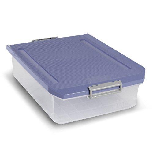 TATAY Caja de Almacenamiento Bajo Cama, 32 L de Capacidad, 40 x 56 x 17,5, Tapa Color Azul, Libre de Bpa