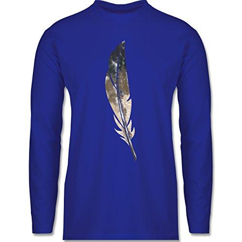 Shirtracer Statement Shirts - Wasserfarben Feder - Herren Langarmshirt Royalblau