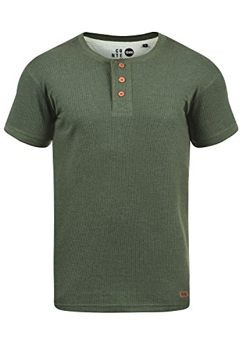!Solid Toko Herren T-Shirt Kurzarm Shirt mit Grandad-Kragen aus Slim Fit Meliert, Größe:M, Farbe:Climb Ivy Melange (8785)