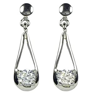 Ornami Glamour 9ct White Gold White Cubic Zirconia Set Teardrop Earrings