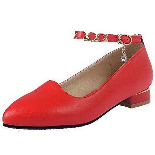 VogueZone009 Femme à Talon Bas Matière Souple Mosaïque Boucle Pointu Chaussures Légeres Rouge