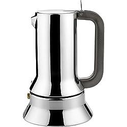 Alessi 9090/3 Cafetière Espresso en Acier Inoxydable 18/10 Brillant, Fond en Acier Magnétique Compatible avec la Cuisson Par Induction, 3 Tasses