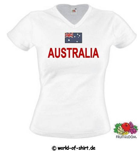 world-of-shirt Damen T-Shirt Australien Trikot S-XXL|L - Australien Trikot