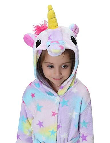 Flanell Kostüm - Aibrou Kinder Winter Flanell Bademantel Einhorn Kostüme Morgenmantel mit Kapuze Leicht Violett L