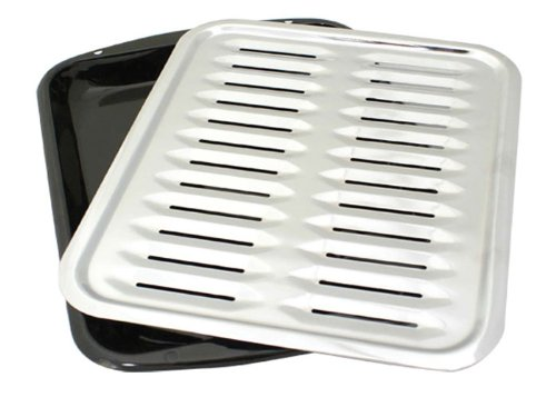 BP100X 2 Piece Porcelain Broiler Pan with Chrome Grill -