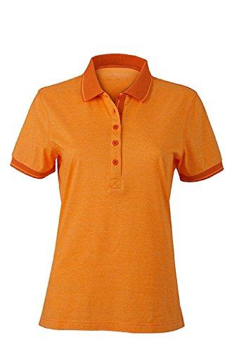 JAMES & NICHOLSON Donna Polo melange con dettagli alla moda orange-melange/dark-orange